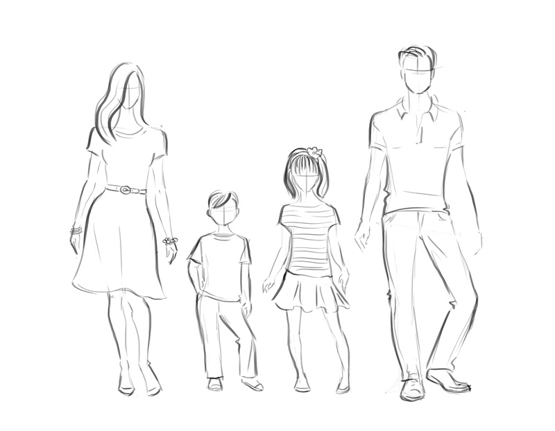 Fashion sketch of a family to illustrate portrait dressing palettes for Alison Photography, Santa Barbara and San Francisco Lifestyle photographer.