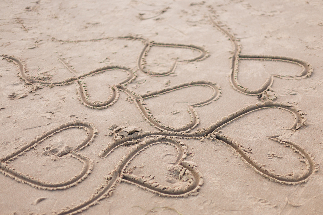 Hearts with tails found in the sand during a portrait session at Goleta Beach in Santa Barbara.