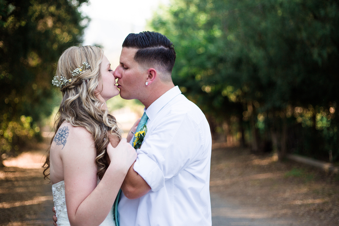 Bride and groom formals at rustic chic Summer wedding in Ojai, California, shot by Alison Photography.