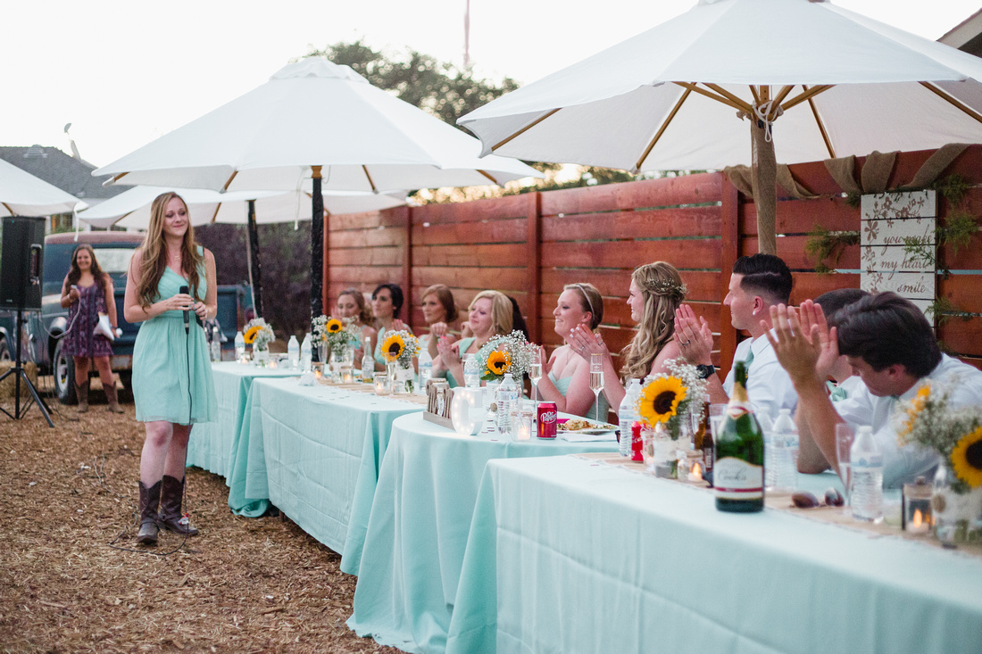Speeches at rustic chic Summer wedding reception in Ojai, California, shot by Alison Photography.