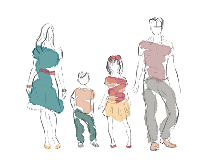 Fashionable family watercolored to illustrate portrait color palettes for Alison Photography, Santa Barbara and San Francisco Lifestyle photographer.