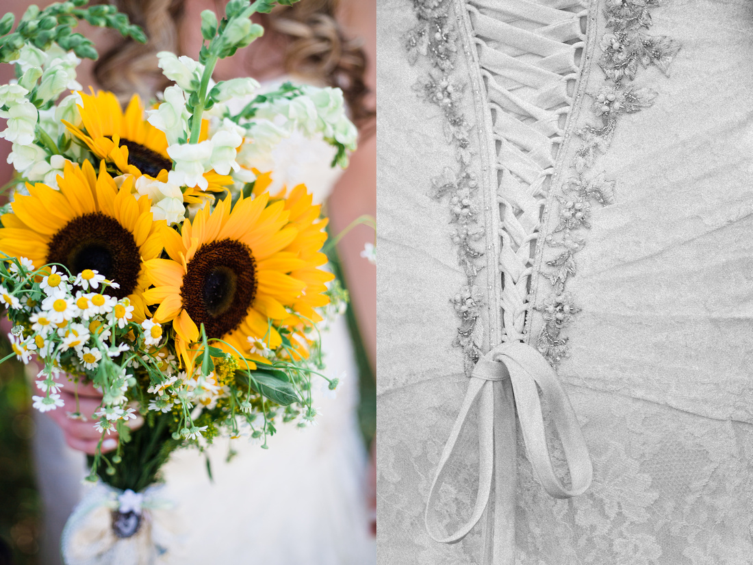 Bride's bouquet and detail of back of dress at rustic chic Summer wedding in Ojai, California, shot by Alison Photography.