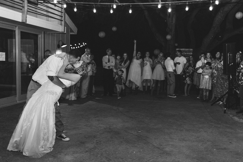 Dip and kiss during the first dance at rustic chic Summer wedding reception in Ojai, California, shot by Alison Photography.