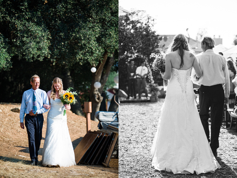 Bride and father walking down the aisle at rustic chic wedding ceremony in Ojai, California, shot by Alison Photography.