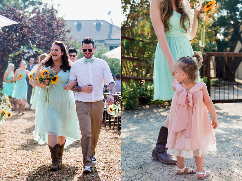 Recessional and flower girl at rustic chic wedding ceremony in Ojai, California, shot by Alison Photography.