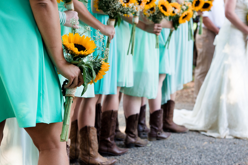 Wedding party at rustic chic Summer wedding in Ojai, California, shot by Alison Photography.