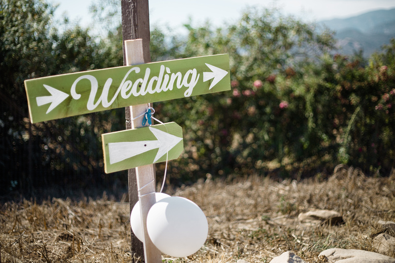 Ceremony sign for rustic chic wedding in Ojai, California, shot by Alison Photography.