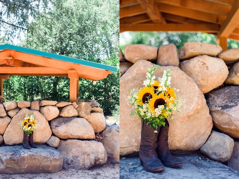 Rustic chic floral arrangement in cowboy boots shot in Ojai, California, by Alison Photography.